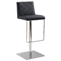 Looper Black Quilt Tufted Leatherette + Stainless Steel Modern Adjustable Height Stool