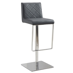 Looper Gray Quilt Tufted Leatherette + Stainless Steel Modern Adjustable Height Stool
