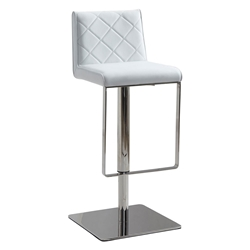 Looper White Quilt Tufted Leatherette Modern Adjustable Height Stool