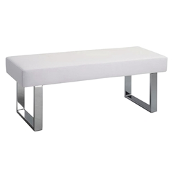 Louden Modern White Dining Bench