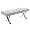 Lox White Tufted Leatherette + Stainless Steel Mid Century Modern Bench