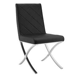 Lox Black Quilt Tufted Leatherette + Metal Modern Dining Side Chair