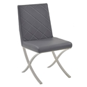 Lox Gray Quilt Tufted Faux Leather + Polished Metal Modern Dining Side Chair