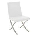 Lox White Quilt Tufted Leatherette + Polished Metal Modern Dining Side Chair
