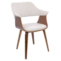 Lucerne Modern Walnut + Cream Dining Chair