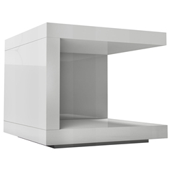 Modloft Modern Nightstand in Glossy White Lacquer