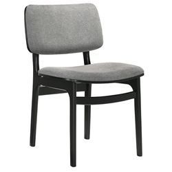 Luis Modern Grey Fabric + Black Dining Chair
