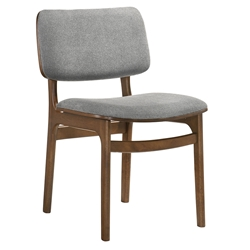 Luis Modern Grey Fabric + Walnut Dining Chair