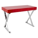 Luther Modern Glossy Red + Chrome Desk w/ Drawer