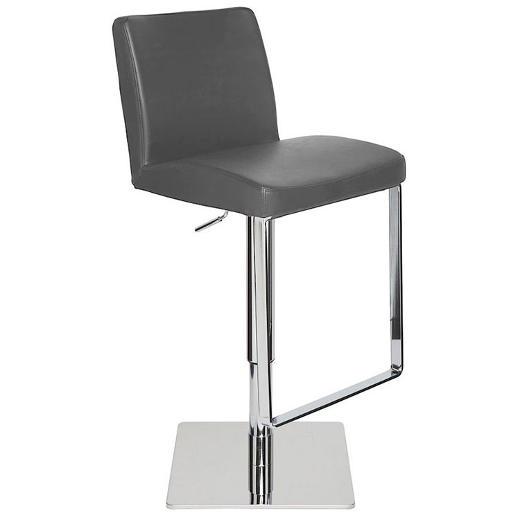 Matteo Modern Grey Adjustable Leather Stool