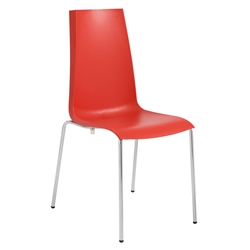 Maddox Red + Chrome Modern Dining Chair