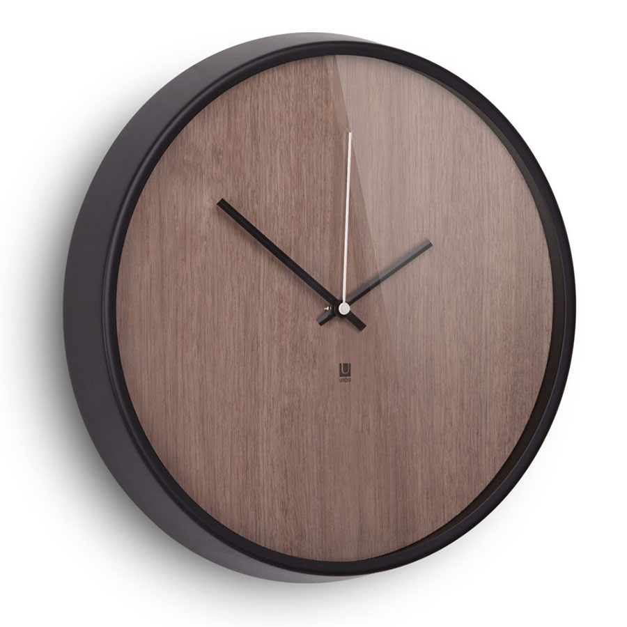 Madera Modern Walnut Wall Clock by Umbra