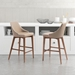 Madock Beige Leatherette + Walnut Modern Counter Stool