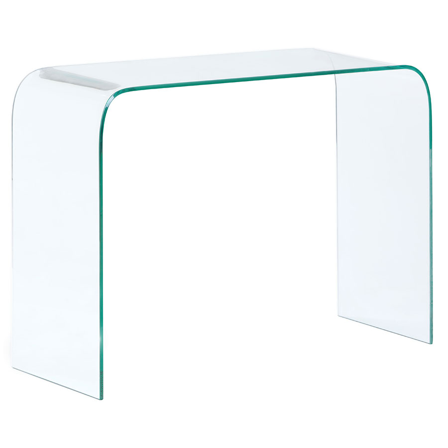 Madrid Modern Clear Bent Glass Console Table