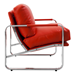 Magi Red Leatherette + Chrome Modern Lounge Chair