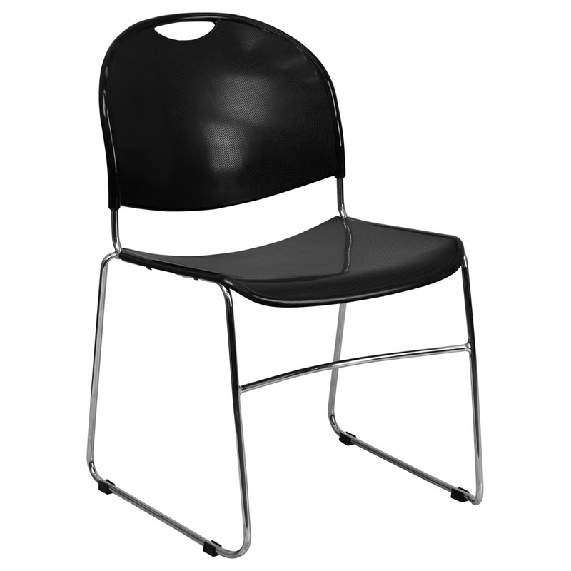 Black Stackable Chairs magnus modern black + chrome stacking chair | eurway