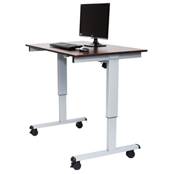 Malibu 48 Inch Modern Stand-Up Desk - Silver + Dark Oak Top