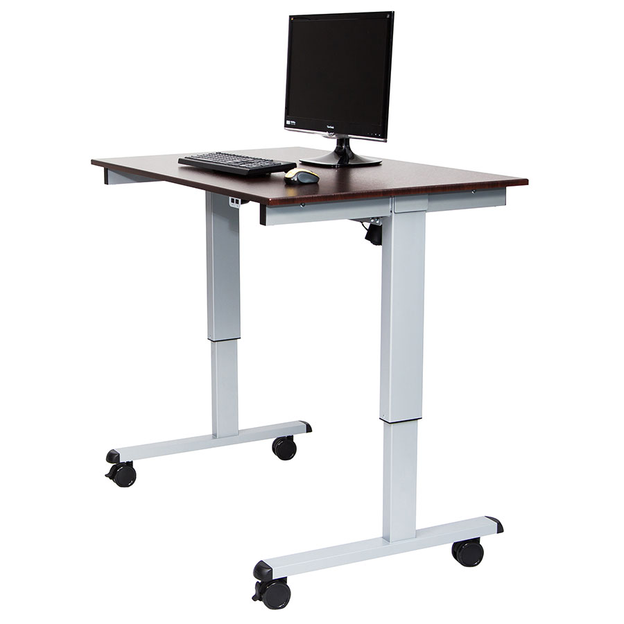 Malibu 48 Quot Modern Stand Up Desk Silver Walnut Eurway