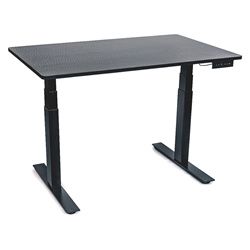 Malibu 60 In. Height Adjustable Desk - Black + Black Oak Top