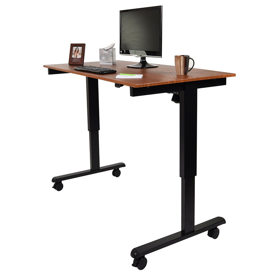 malibu 60 modern stand up desk black teak eurway. Black Bedroom Furniture Sets. Home Design Ideas