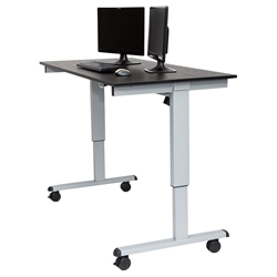Malibu 60 In. Height Adjustable Desk - Silver + Black Oak Top