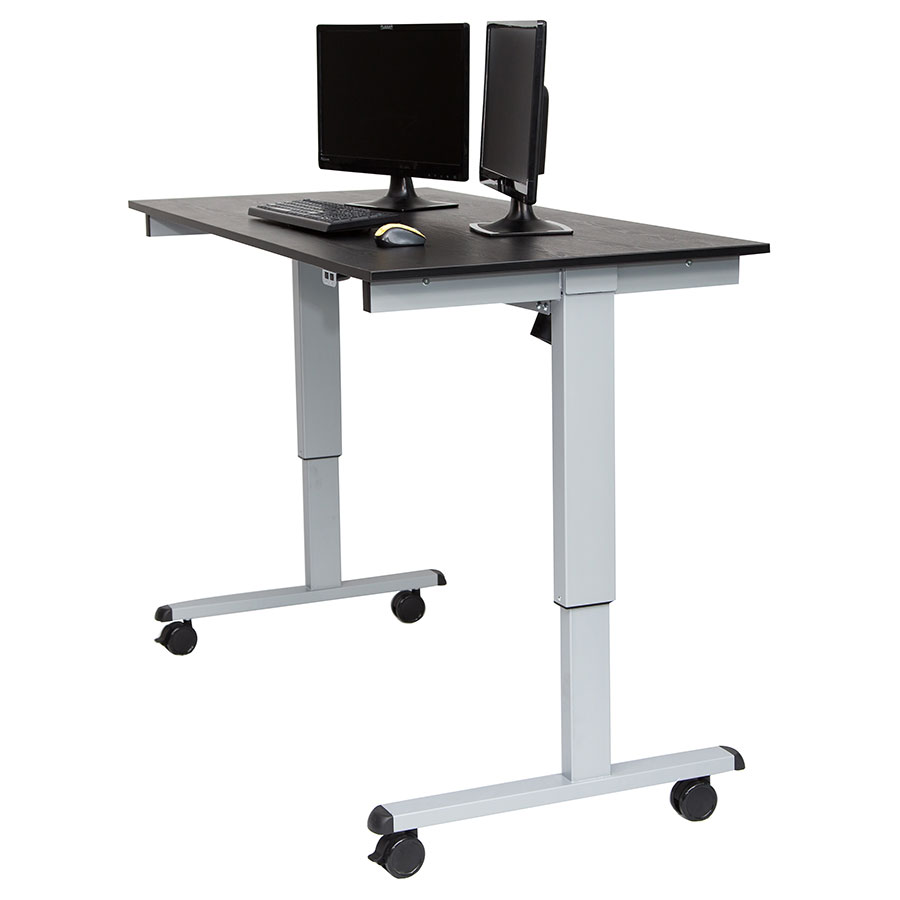 malibu 60 modern stand up desk silver black eurway. Black Bedroom Furniture Sets. Home Design Ideas