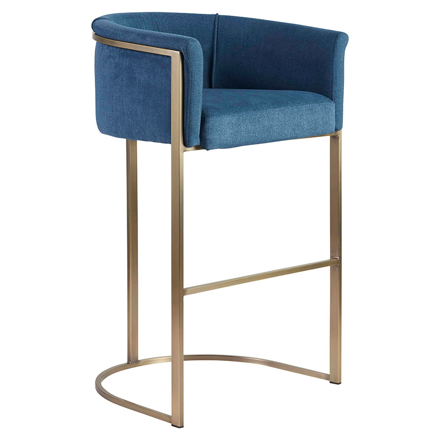 Malimar Blue Fabric + Light Brass Modern Bar Stool