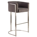 Malimar Gray Fabric + Brushed Stainless Steel Modern Bar Stool