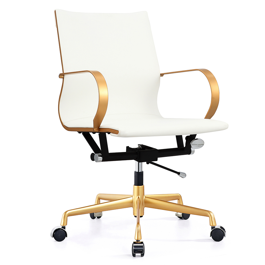 Call To Order Malone Gold White Modern Office Chair