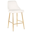 Malta Modern White + Gold Counter Stool