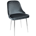 Malta Modern Blue Velvet + Chrome Dining Chair