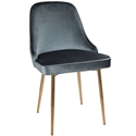 Malta Modern Blue Velvet + Gold Dining Chair