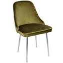 Malta Modern Green Velvet + Chrome Dining Chair