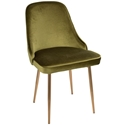 Malta Modern Green Velvet + Gold Dining Chair