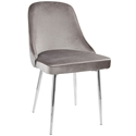 Malta Modern Silver Velvet + Chrome Dining Chair