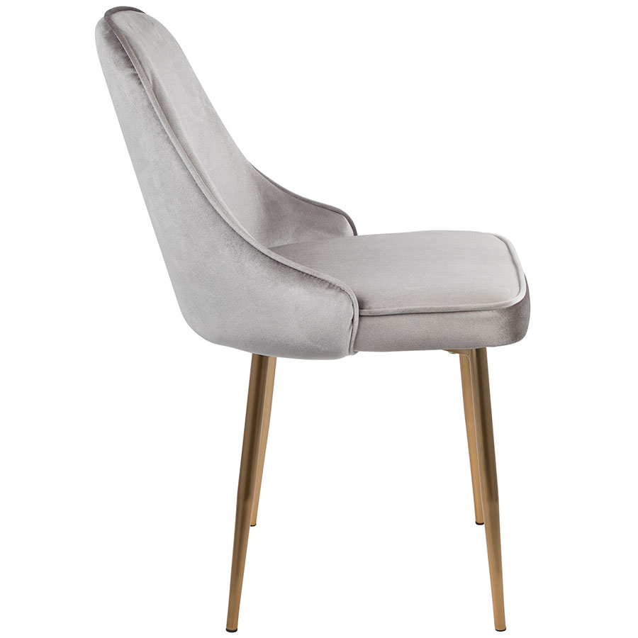 ... Malta Contemporary Silver Velvet + Gold Dining Chair ...