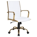 Manchester Modern Office Chair in White + Gold
