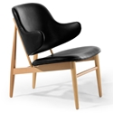 Manta Black Leather + Ash Wood Contemporary Arm Chair