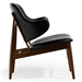 Manta Black Leather + Walnut Wood Mid Century Modern Arm Chair