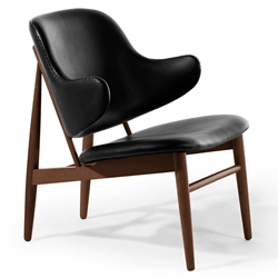 Manta Black Leather + Walnut Wood Contemporary Arm Chair