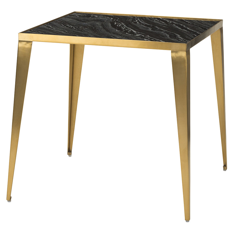 Manvel Gold Steel + Black Marble Square Modern End Table