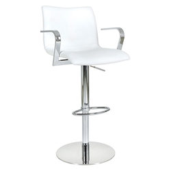 Marcellus White Adjustable Modern Stool