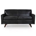 Wilson Modern Charcoal Genuine Leather Loveseat