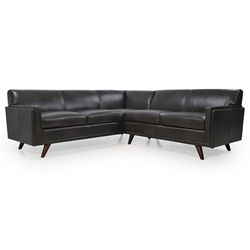 Wilson Modern Charcoal Genuine Leather Sectional