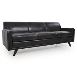 Wilson Modern Charcoal Genuine Leather Sofa