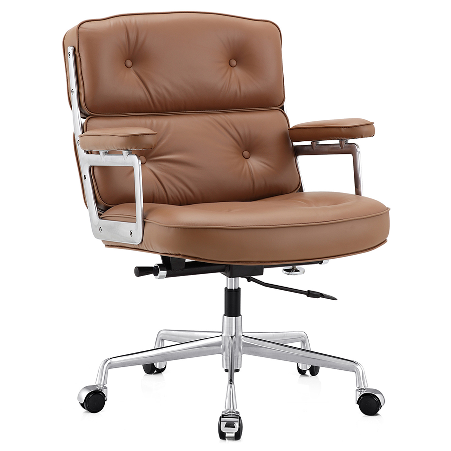 Maren Brown Leather Modern Office Chair | Eurway