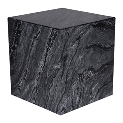 "Marfa 16"" Cube Black Marble Contemporary End Table"