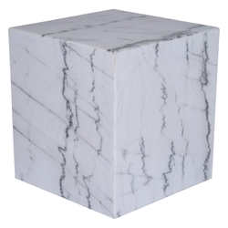 "Marfa 20"" Square White Marble Contemporary End Table"