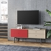BDi Margo Modern Media Cabinet in Drift Oak Wood with Gray Steel and Cayenne Red Sliding Door - Room Setting View