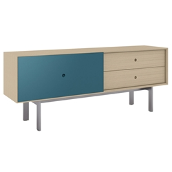 BDi Margo Modern Media Cabinet in Drift Oak Wood with Gray Steel and Marine Blue Wood Sliding Door